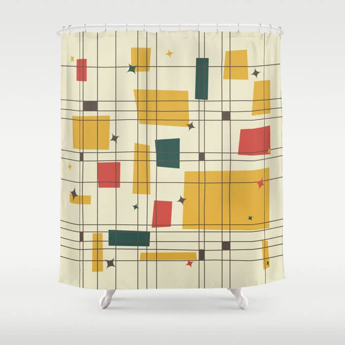 Midcentury bathroom abstract-pattern shower curtain.