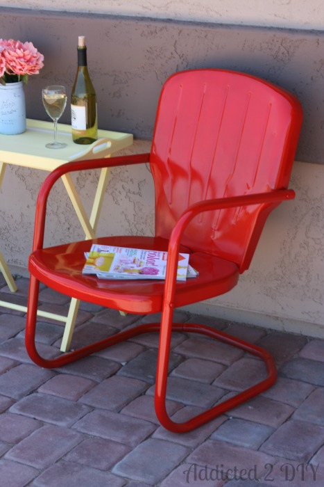 Fiesta red midcentury modern backyard DIY Chair by Addicted to DIY
