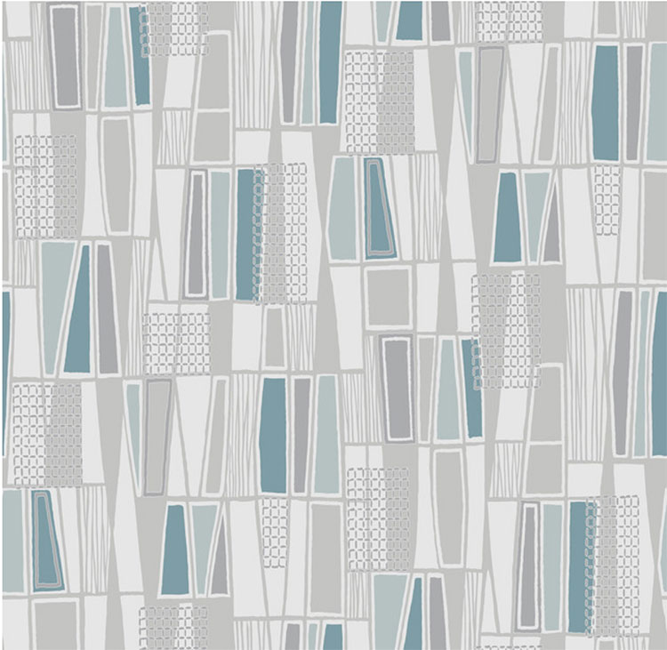 Blue Retro Geometric mid cenutry modern Wallpaper