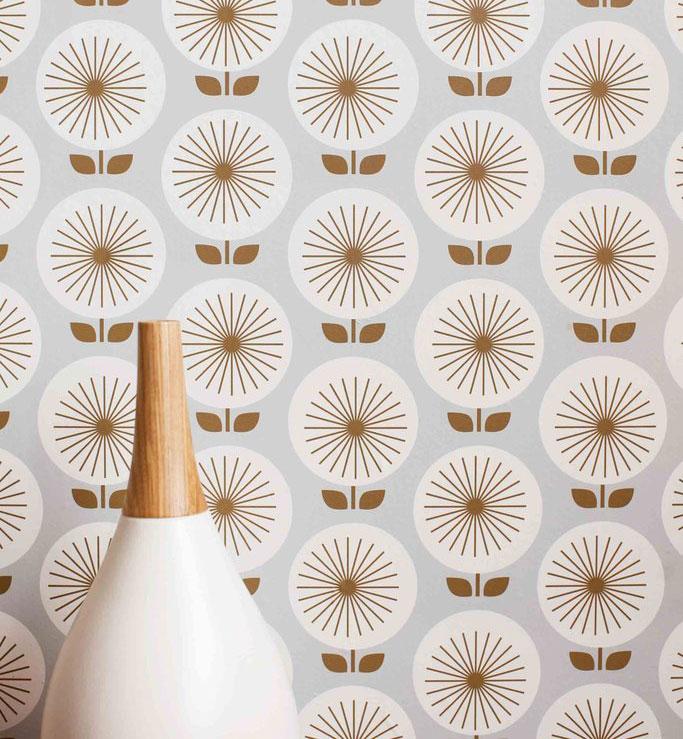 mid century modern wallpaper mod sunburst pattern with light gray background
