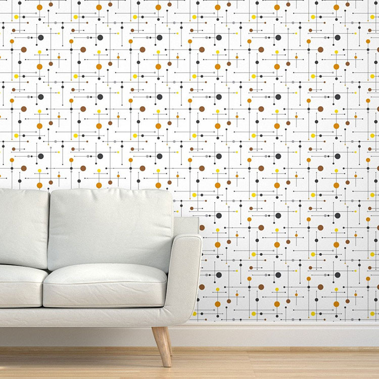 mid century modern wallpaper with an eames like atom pattern in black red blue and brown on white background.