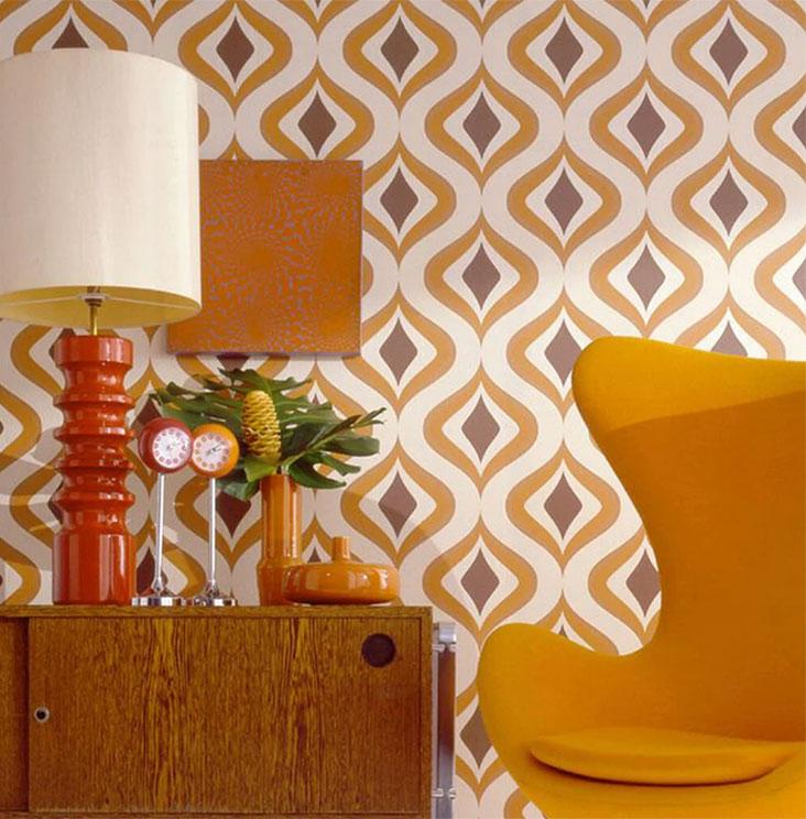 mid century modern wallpaper groovy trippy orange diamond Moroccan pattern