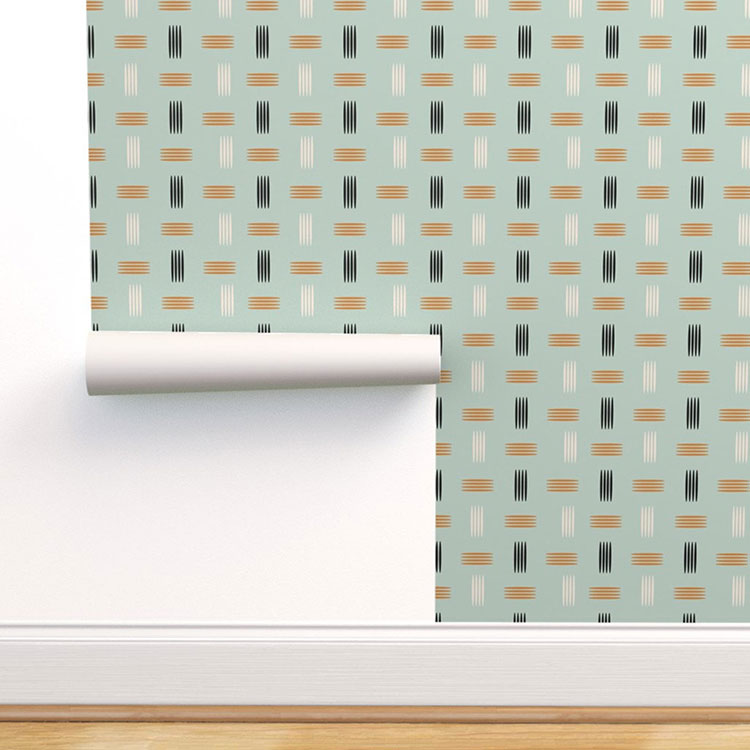 mid century modern wallpaper briwn and navy hashmarks pattern on seafoam green background