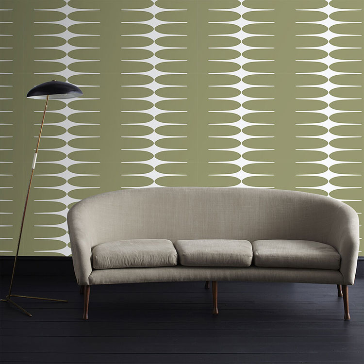 mid century modern wallpaper with an oval olive colored pattern and white background