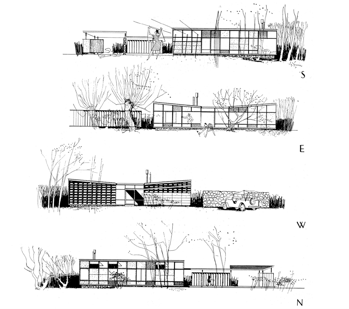 "Exterior sketch of Case Study House #4, also named The ""Greenbelt"" House."