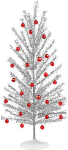 Aluminum Christmas trees with red ornaments.