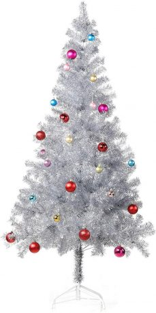 An aluminum-colored Christmas tree with an array of purple, blue, and red ornaments.