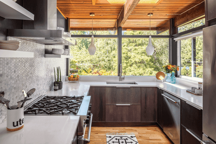 A zen mid century kitchen with a honeycomb backsplash and quartz countertops.