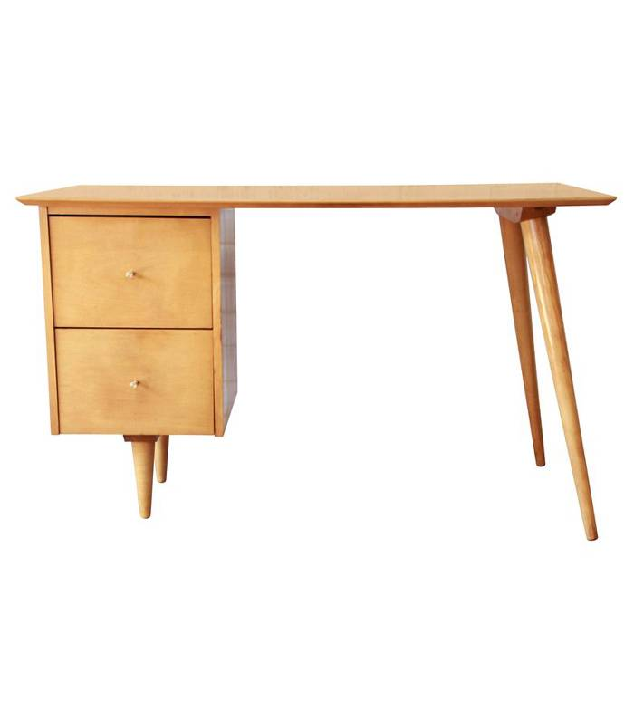 Light wooden midcentury style desk with 2 large drawers, and asymmetrical legs