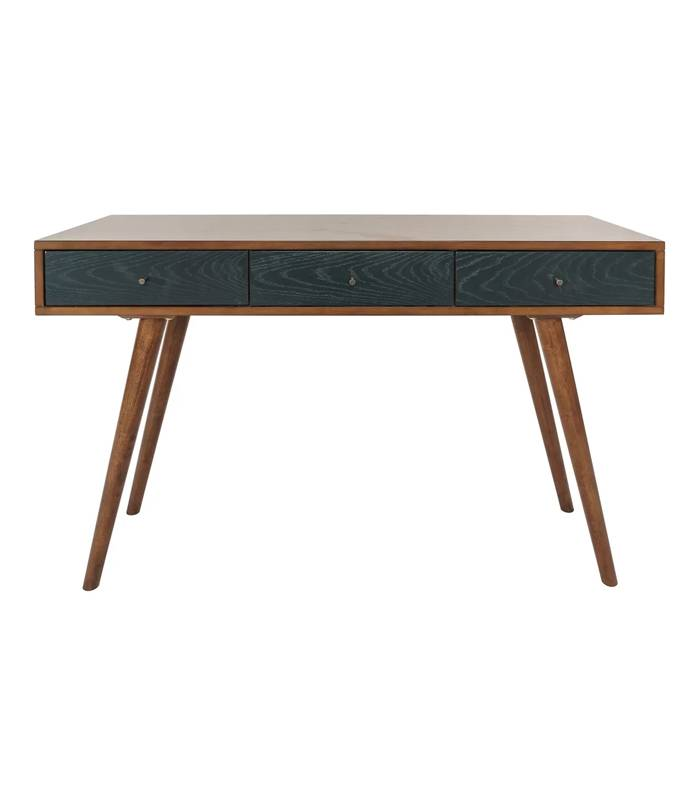 Midcentury style desk with dark green drawers and asymmetrical legs.