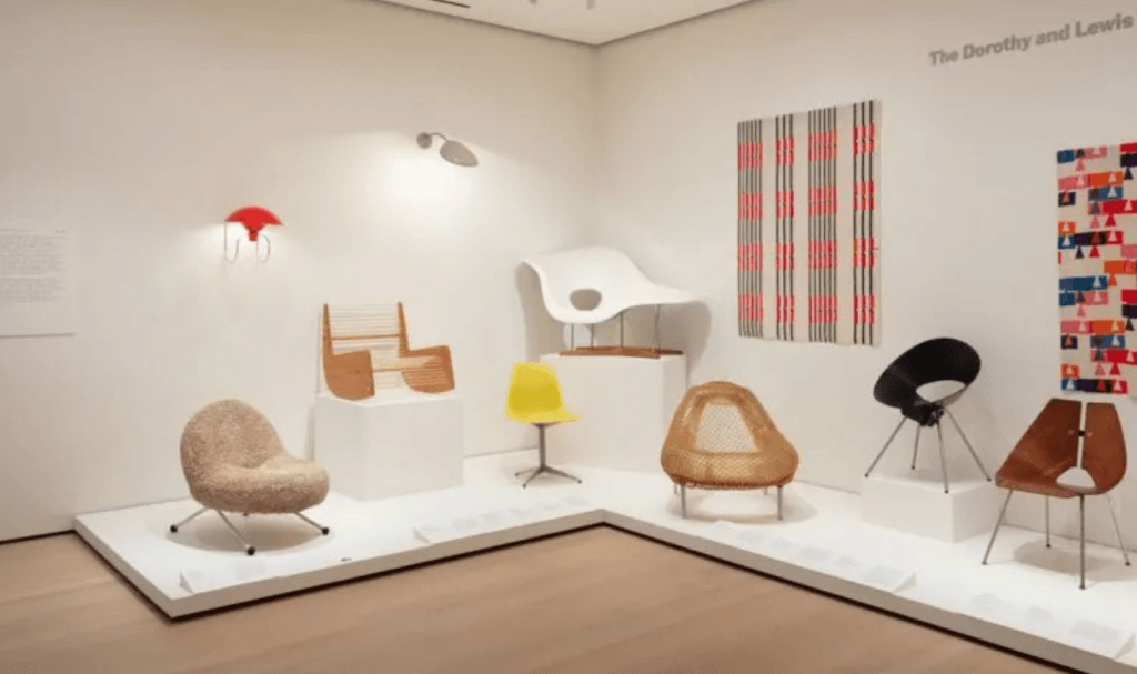 Several classic Mid Century chairs on display for MoMA's new design exhibit.