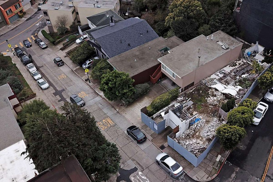 A pile of rubble is all that remains of a 1935 Richard Neutra house whose first floor was supposed to remain intact.