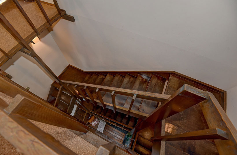 Mid Century Modern wood staircase