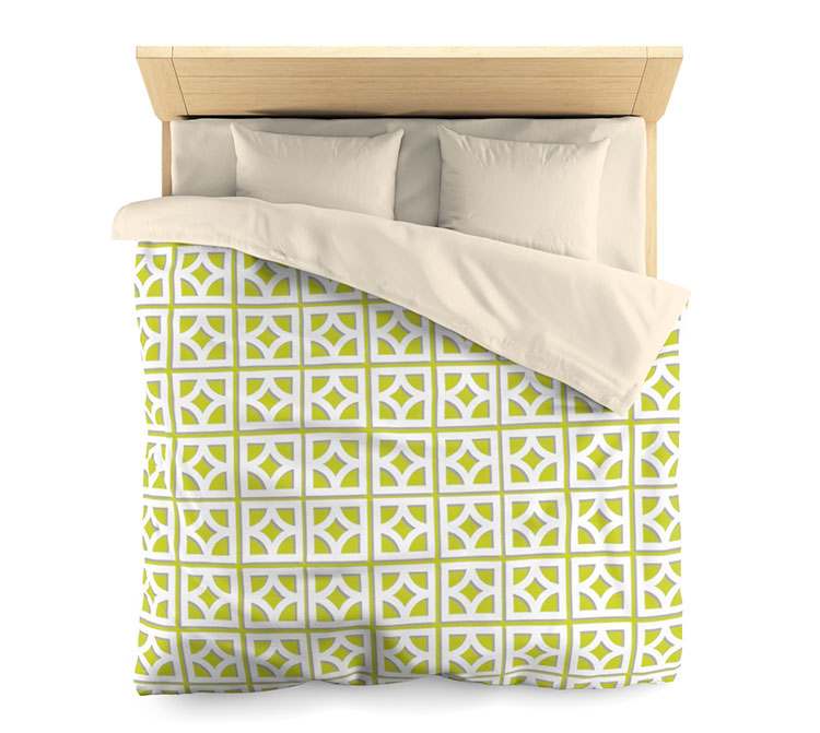 lime green and white breezeblock pattern duvet cover.