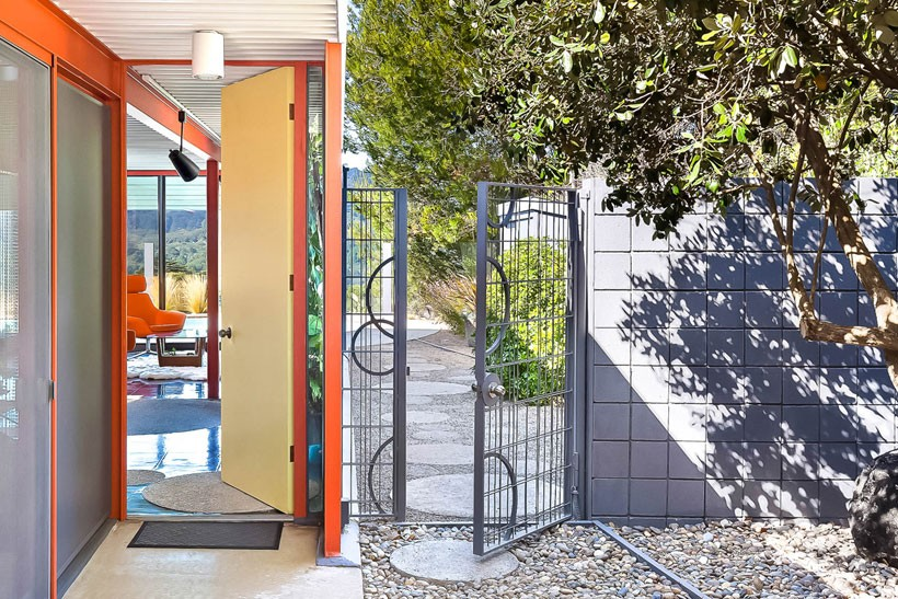 Mid Century Modern Eichler X-100 gate and front door