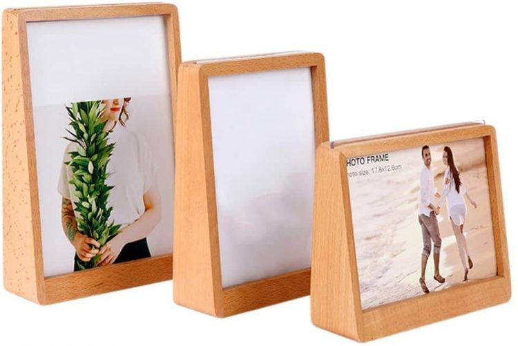 Three solid wood picture frames.