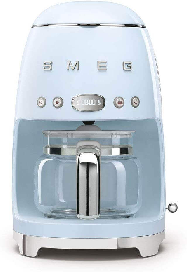 Retro coffee maker with a light blue shade.