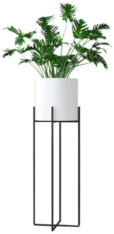 Plant stand with minimalist metal stand and white planter.