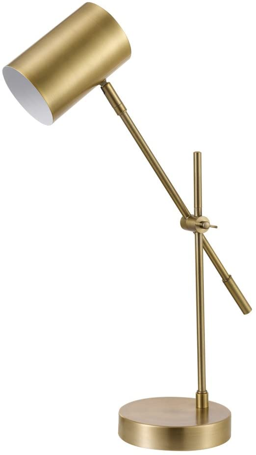 Bed and bath matte brass desk lamp.