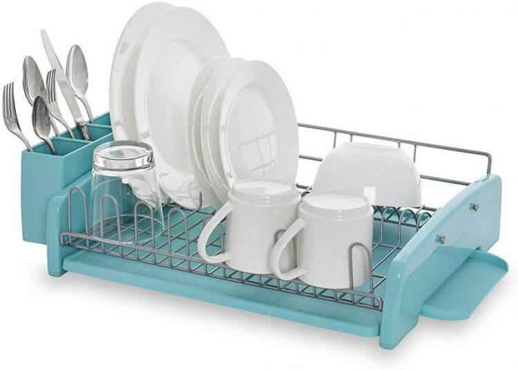 Kitchen and dining pastel blue dish rack.