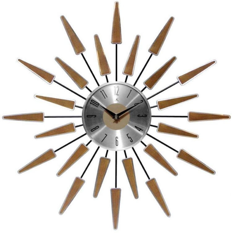 A sun-shaped mid century clock with wooden beams protruding outward.