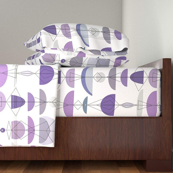 Midcentury Modern Mod 4pc Sheet Set Mid Century Minimal Row Stripe Bowl Purple Violet Blue Scaffold Framework Gray Black White by Wren Leyland 100% Cotton Sateen Queen Sheet Set