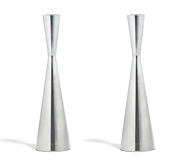 LampLust 2 Silver Finished Taper Candle Holders