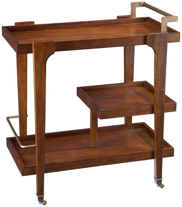 Wood bar cart with three vertically-oriented compartments.