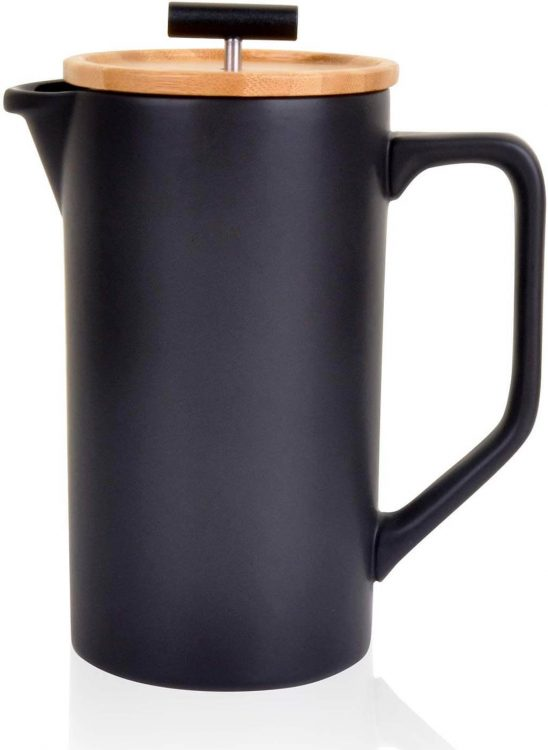 Ceramic French Press in Black.