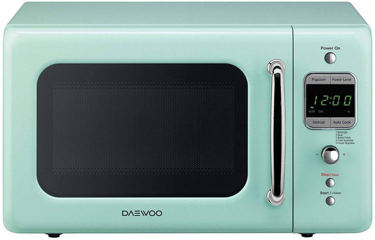 Kitchen and dining turquoise microwave.