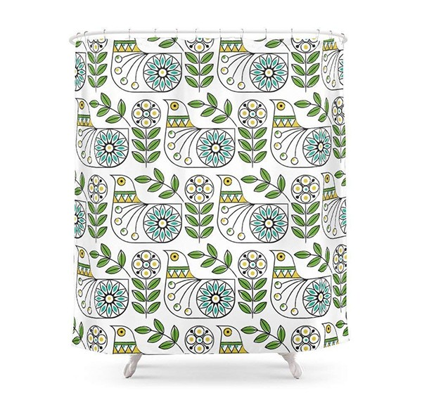 "JXSED Mid Century Danish Bird Waterproof Bathroom Shower Curtains 60"" by 72"""