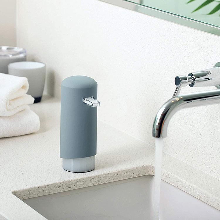 modern grey tube shaped soap dispenser