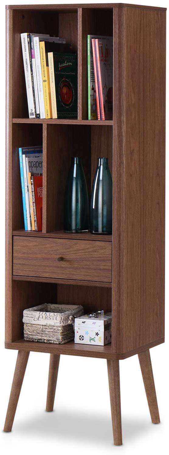 Tall wooden mid century bookshelf.