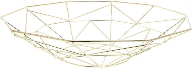 A geometric wire fruit bowl.