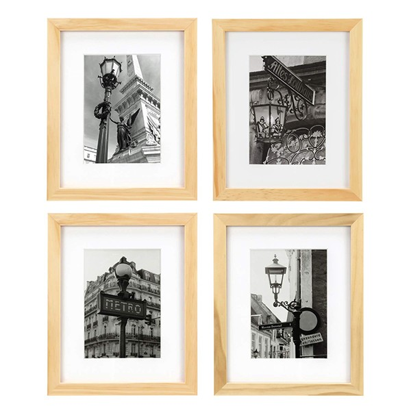 ONE WALL Tempered Glass 8x10 Picture Frame Solid Wooden Frame Set of 4