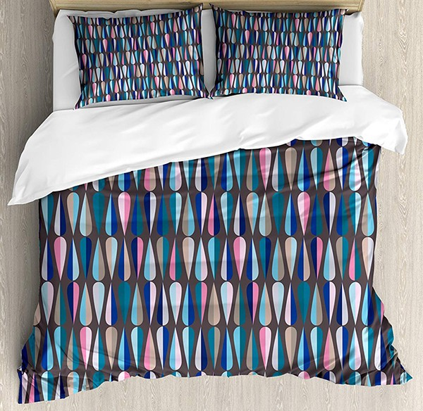 LAMANDA Mid Century Bed Set Modern Style Retro Pattern with Droplet Shapes