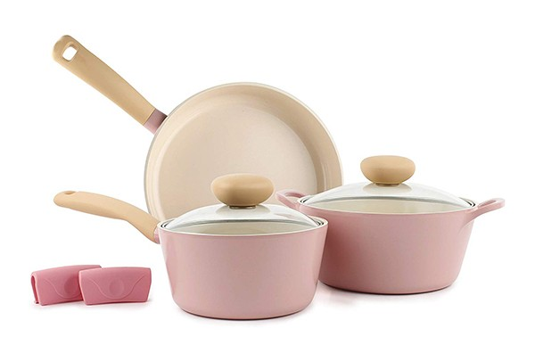 Retro 5-Piece Ceramic Non-Stick Cookware Set, Pink