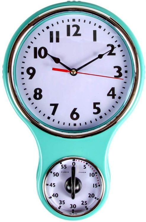 Kitchen and dining light blue wall clock.