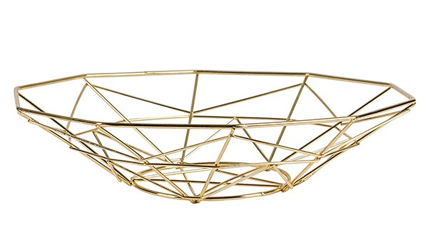 gold wire geometric modern fruit basket