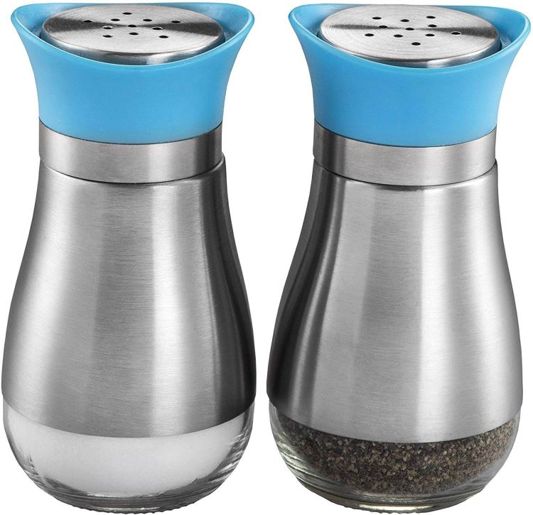 Mid century salt and pepper shakers with a metal bodies and blue caps.