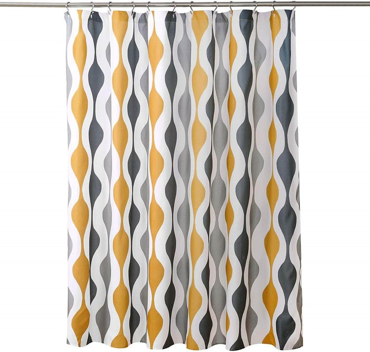 Gold and grey wave pattern shower curtain.