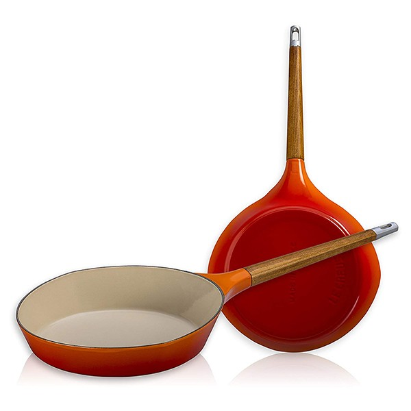 Le Creuset Raymond Loewy Flame Enameled Cast Iron Skillet with Wooden Handle