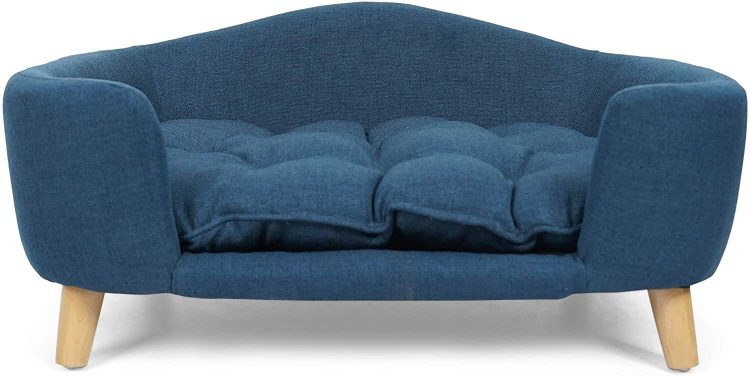 Blue pet bed with wooden legs.