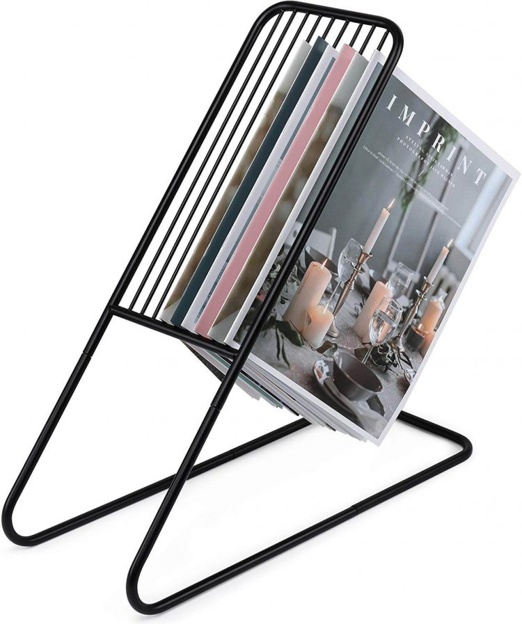 Metal magazine rack with a slanted L-shaped silhouette.