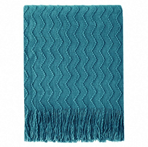 Bourina Throw Blanket Textured Solid Soft Sofa Couch Decorative Knitted Blanket in Teal