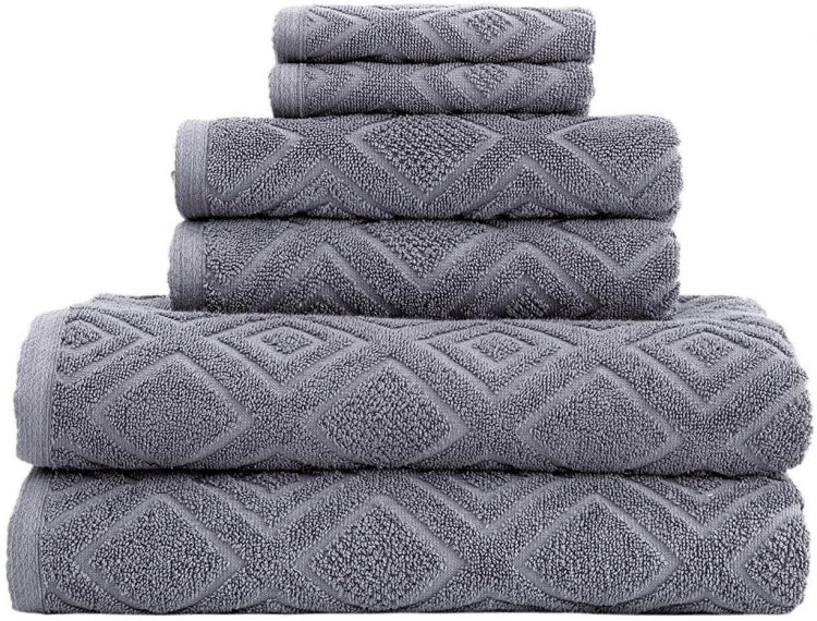 Gray bed and bath Turkish towel with alternating diamond pattern.