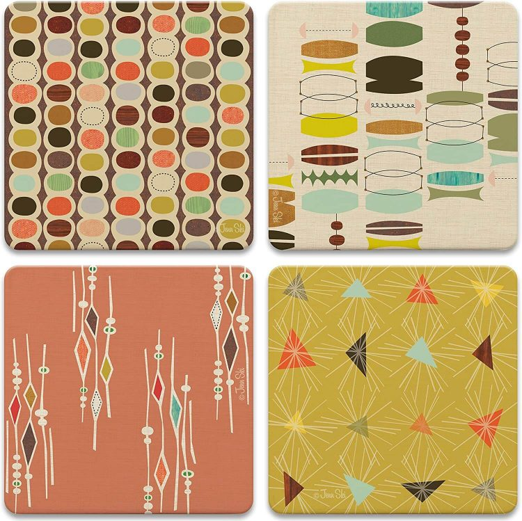 Living room and entertaining coasters with various mid century designs.