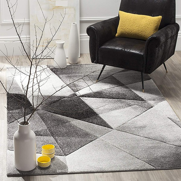 Safavieh Porcello Collection PRL6939D Modern Abstract Geometric Art Light Grey and Charcoal Area Rug