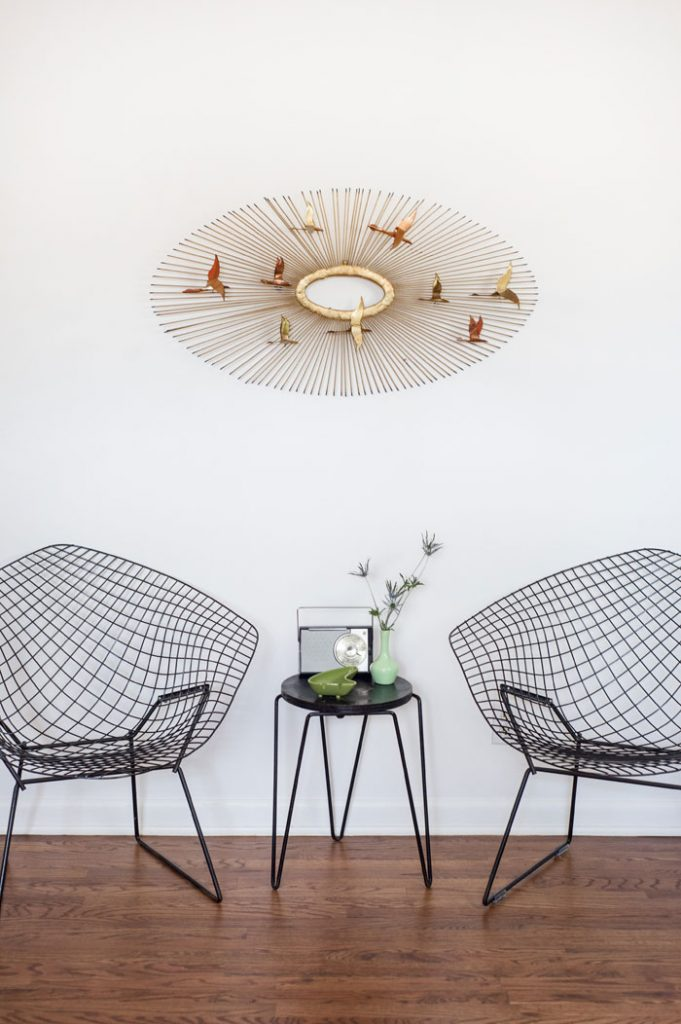 Bertoia diamond chairs with a Knoll side table