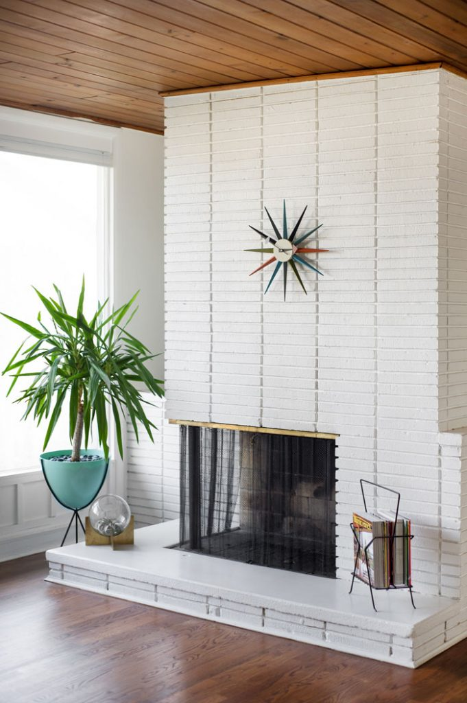 Mid Century Modern white painted brick fireplace